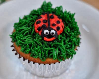 Grass, Bees & Ladybugs Cupcakes