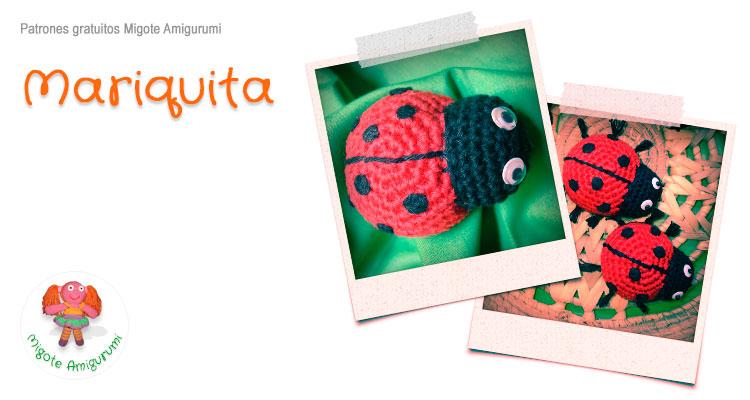Mariquita tejida por migote amigurumi - Patrón Gratis
