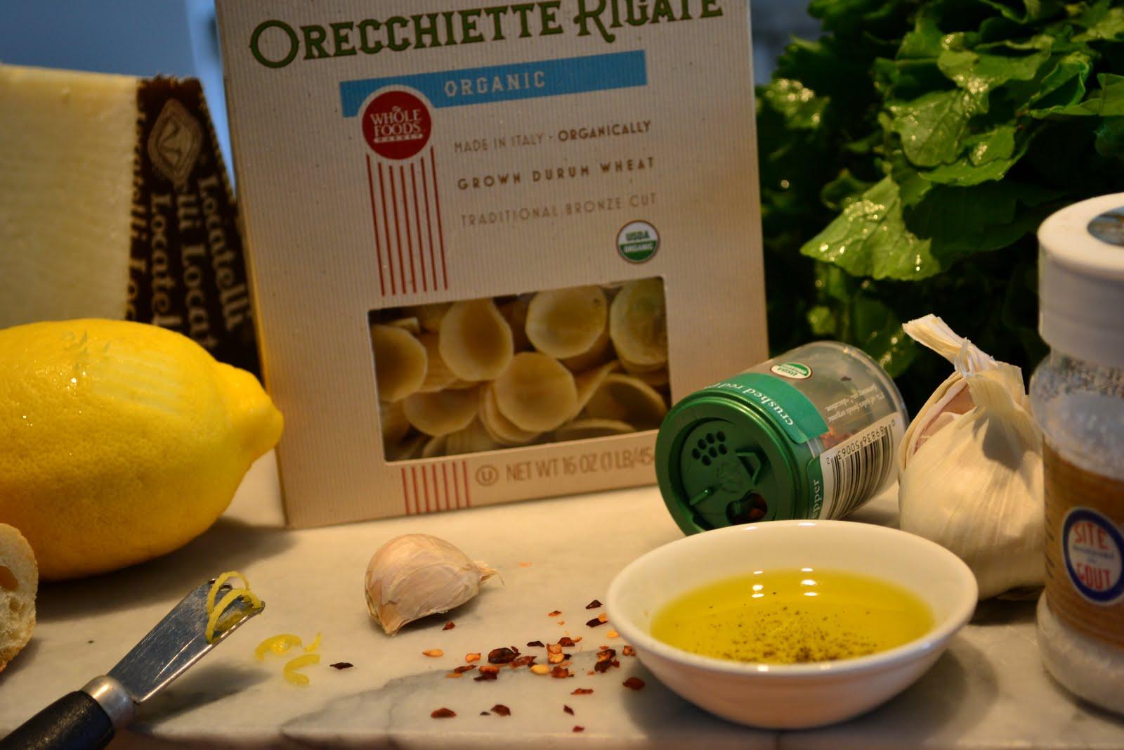 Orecchitte, Rapini, garlic, lemon, red chile flakes, salt and olive ...