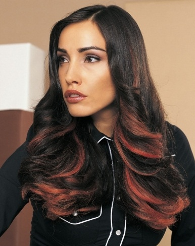 Long Hair with Red Highlights 2014