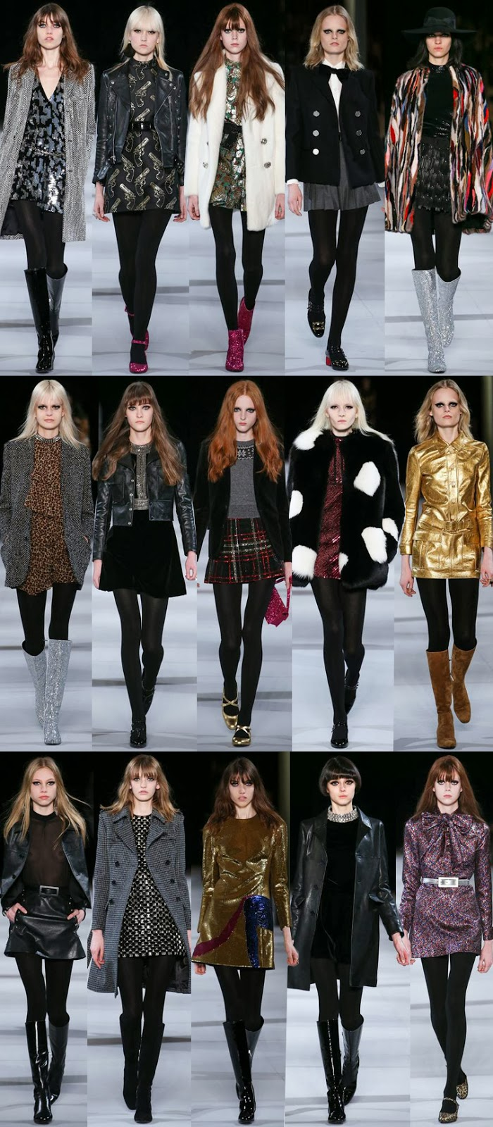 Saint Laurent by Hedi Slimane fall winter 2014 runway collection, PFW, Paris fashion week, FW14, AW14
