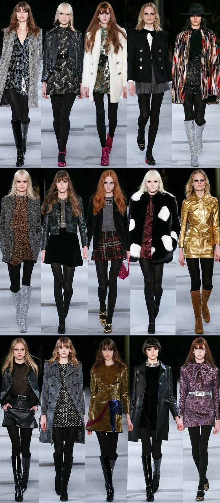 Saint Laurent by Hedi Slimane fall winter 2014 runway collection, PFW, Paris fashion week, FW14, AW14