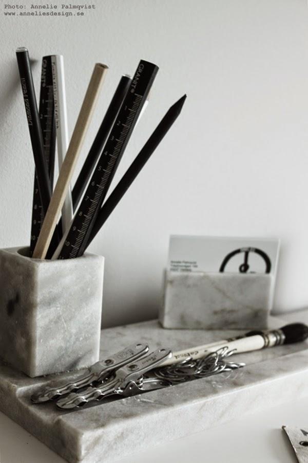 marmor pennställ, klämma, klämmor, clips, pensel, skrivbord, detaljer, arbetsrum, inredning, webbutik, webshop