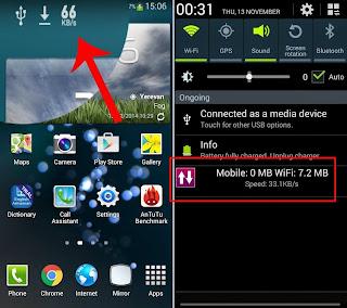 Cara Tampilkan kecepatan download di Android di atas layar