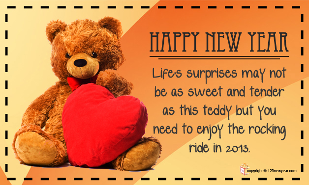 Happy New Year 2013, greeting card with a teddy bear and heart, wishes