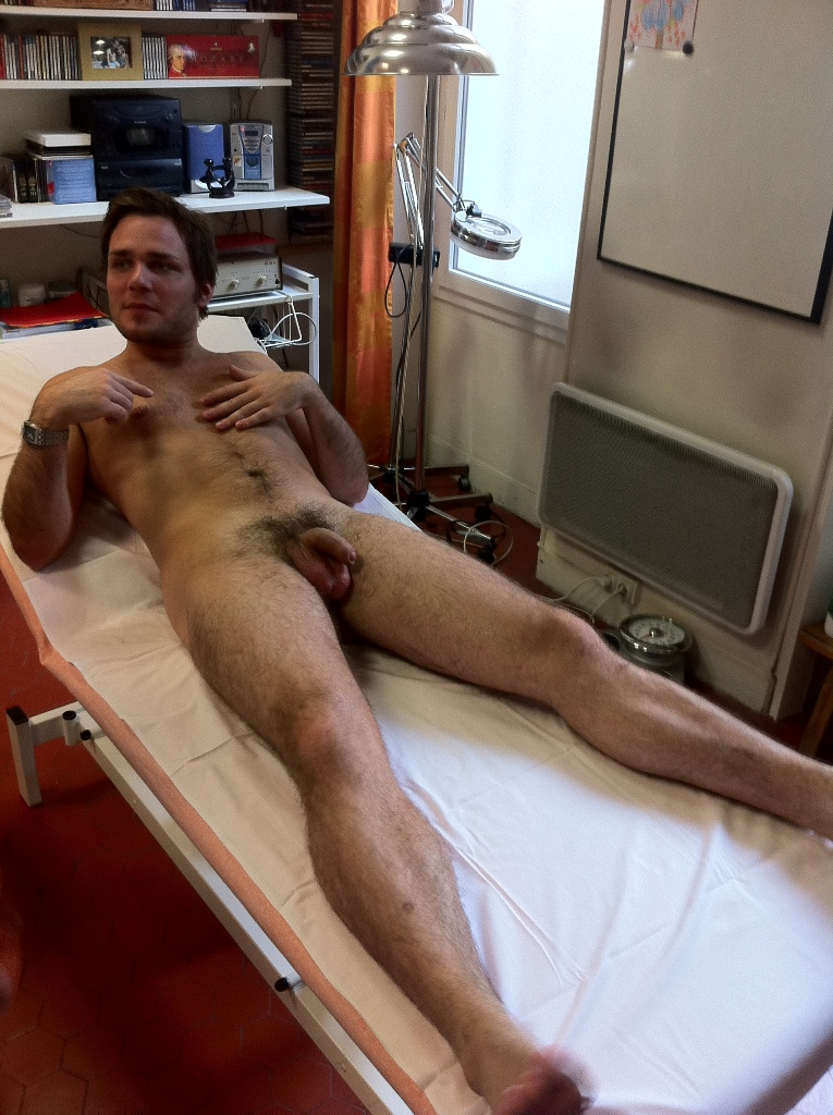 Nude male medical exam