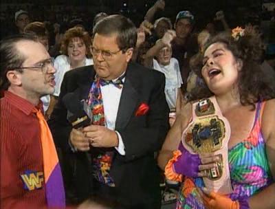 WWF / WWE - SUMMERSLAM 1995 - Jim Ross interviews Harvey Wippleman and new WWF Women's Champion Bertha Faye
