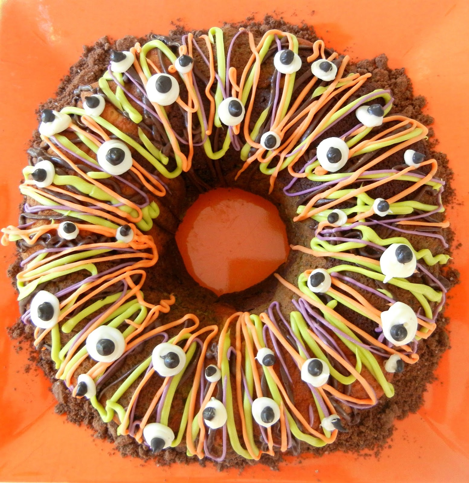Halloween Bundt Cake Decorations Sugar Swings Serve Some Tri Color Halloween Bundt Cake Colored