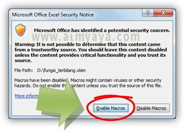 Gambar: Memperbolehkan / mengizinkan penggunaan macro untuk dokumen