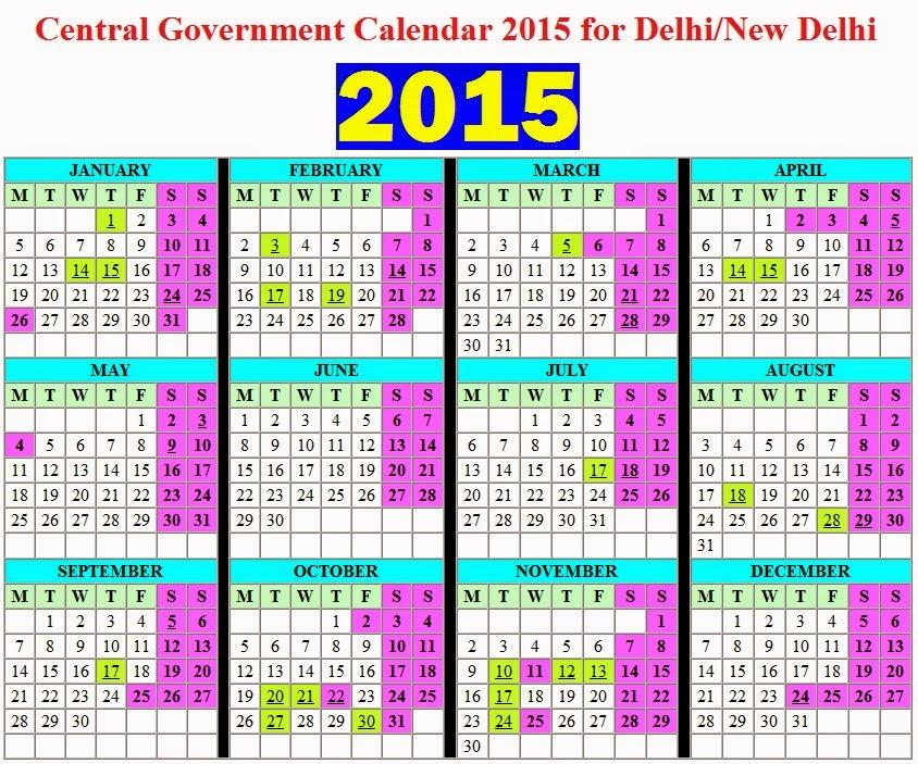 Calendar Government : Central government calendar for delhi new with
