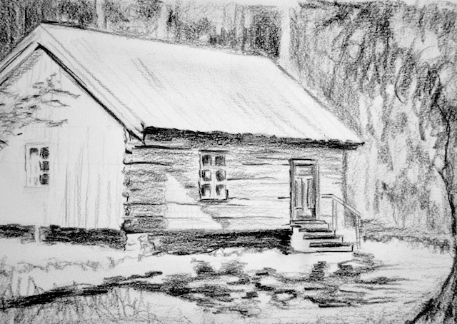 Rmwillustration drawing cabin in the woods Cabin drawings
