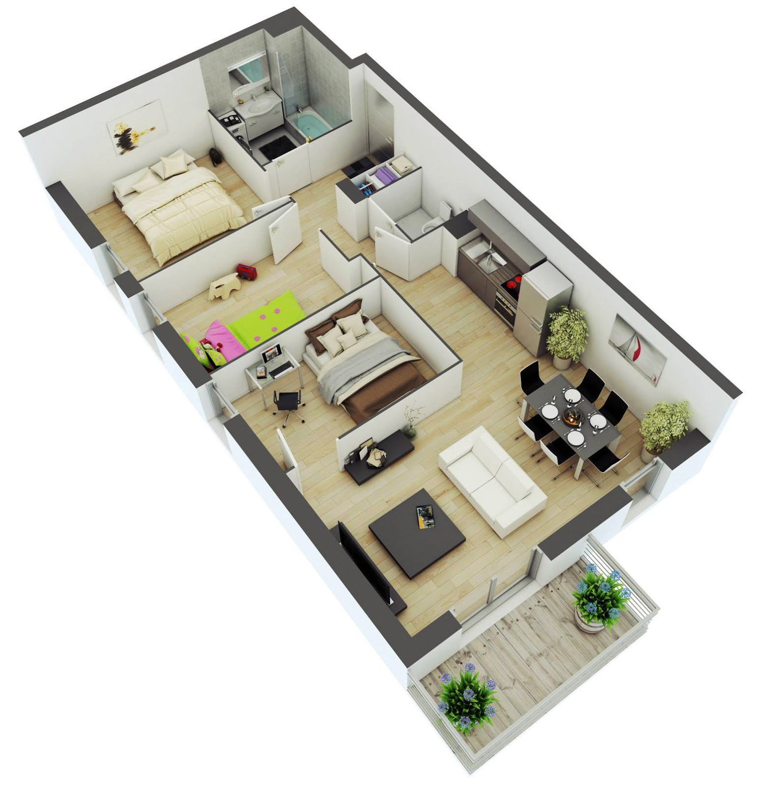 House Floor Plans 3d Small House Design With Large Living Space Small Home Designs Floor Plans
