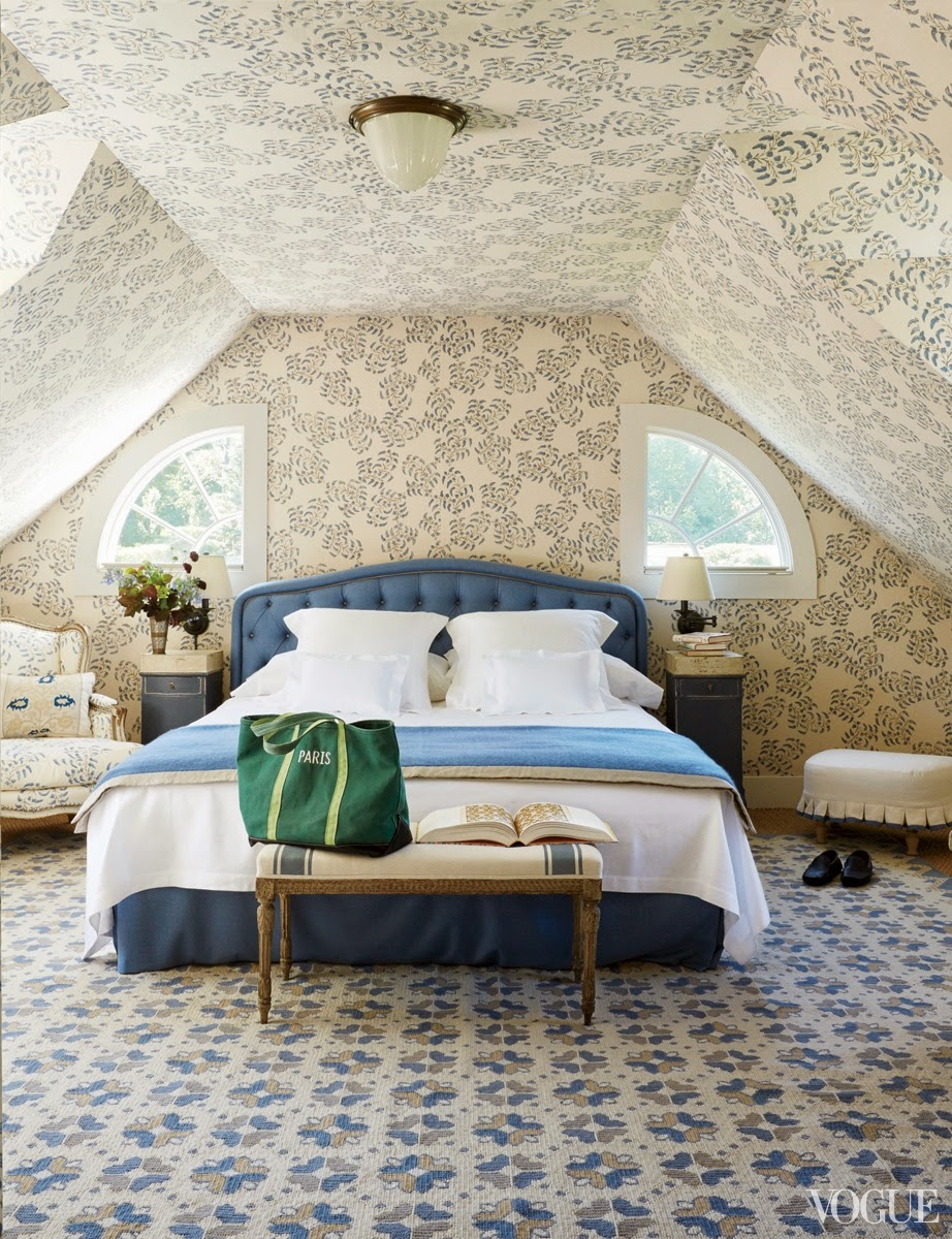 Attic bedroom with decorative wallpaper