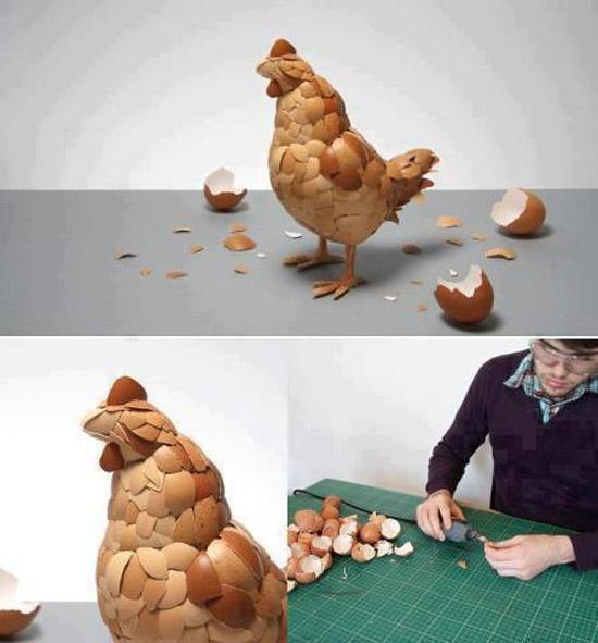 Menyulap Kulit Telur menjadi Ayam-Ayaman