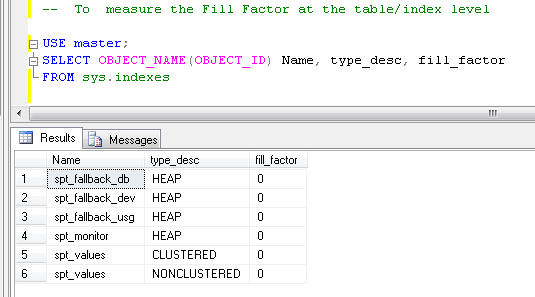 measure the Fill Factor at the table/index level