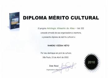 diploma por mérito Cultural pelo destaque e beleza de sua obra