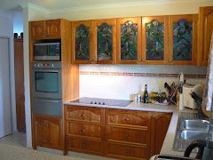 "My ""Magnolia""  leadlight panels in Cupboards set in New Guinea Rosewood"