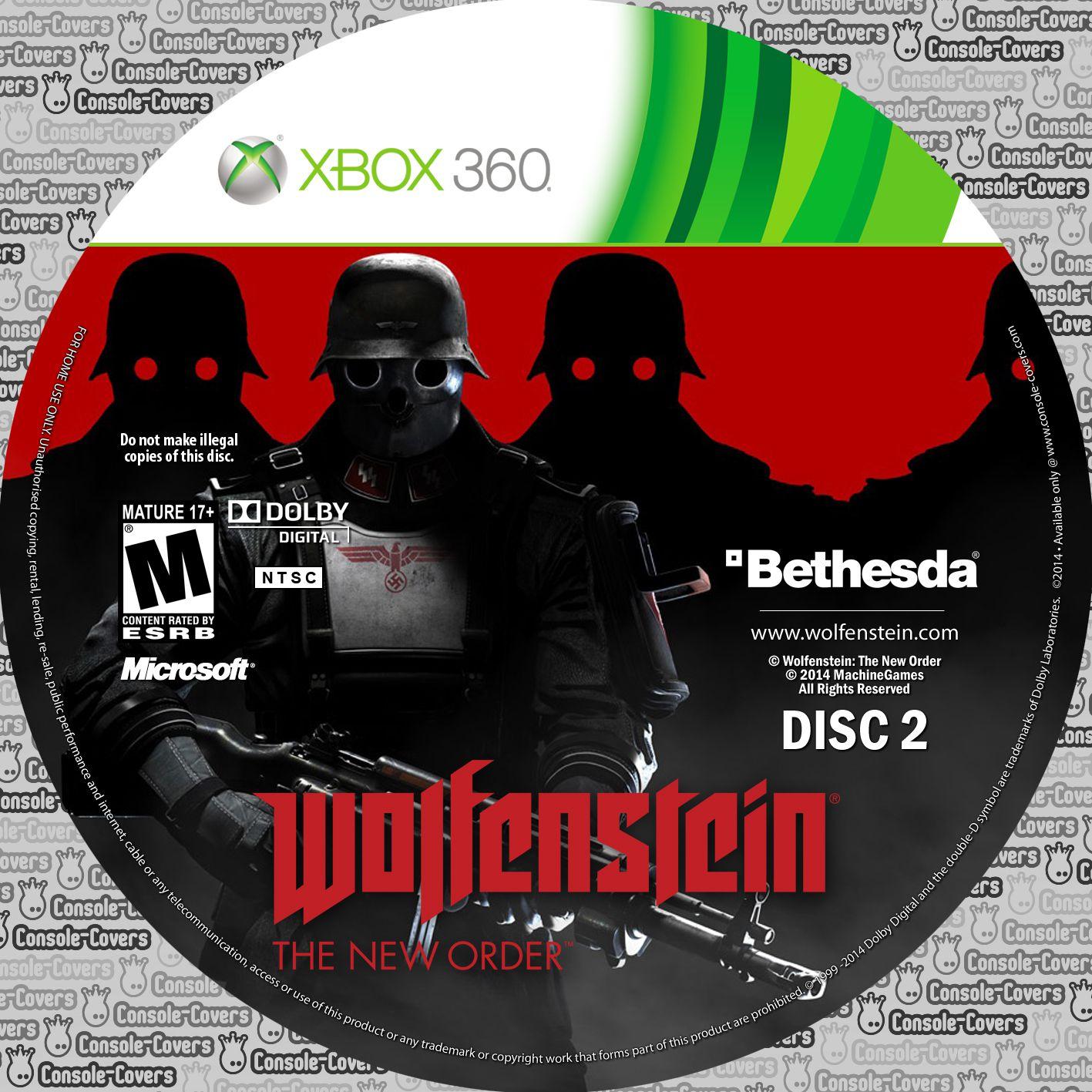 Label Wolfenstein The New Order Disc 2 Xbox 360
