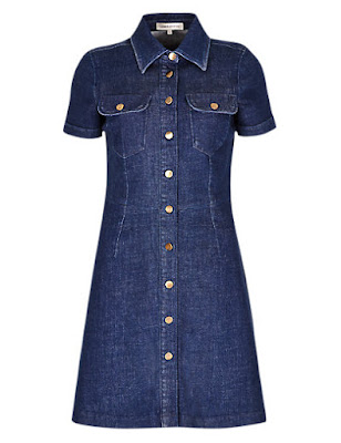 Marks and Spencer No Peep Denim Button Through Shirt Dress