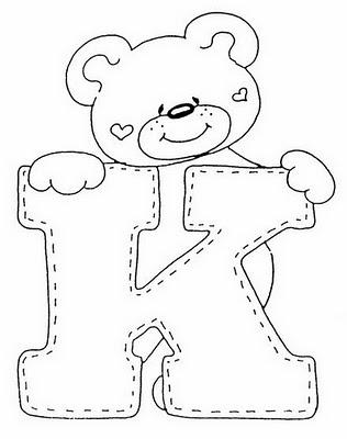 Abecederio de Osito corazon para colorear letra K ~ 4 Dibujo