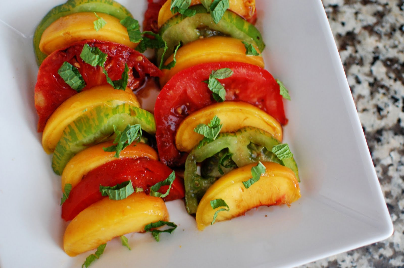 Tomato And Peach Salad With Goat Cheese Recipe — Dishmaps