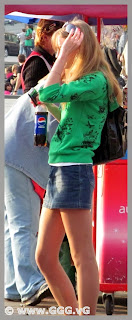 Girl in mini skirt on the street