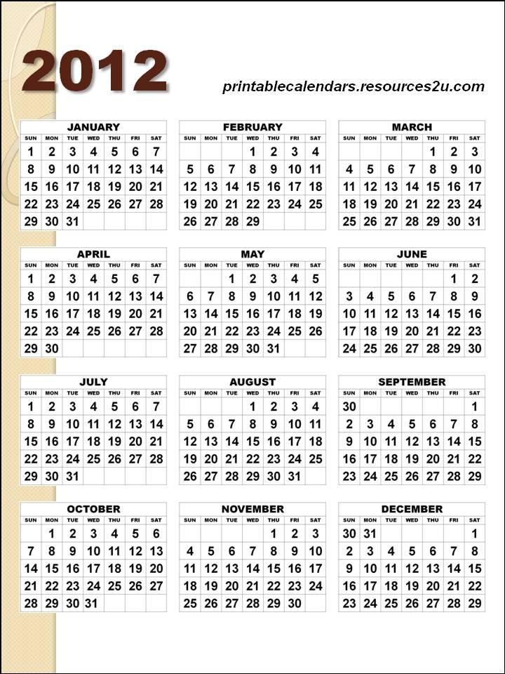 December 2012 Calendar Template