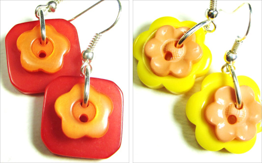Bold earrings have flower buttons layered over colorful fashion buttons