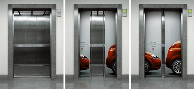 Publicidad Creativa, ascensores, Fiat Punto, Sensores de aparcamiento