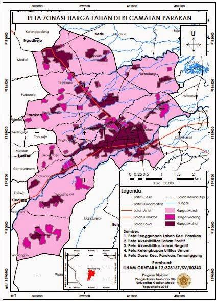 Contoh Peta Zonasi Harga Lahan di Kecamatan Parakan www.guntara.com