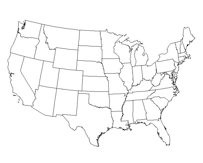 Us Map Game - Blank us map to label