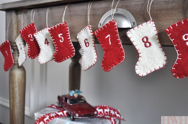 Felt stocking Advent calendar garland & festive holiday decor | Honey We're Home