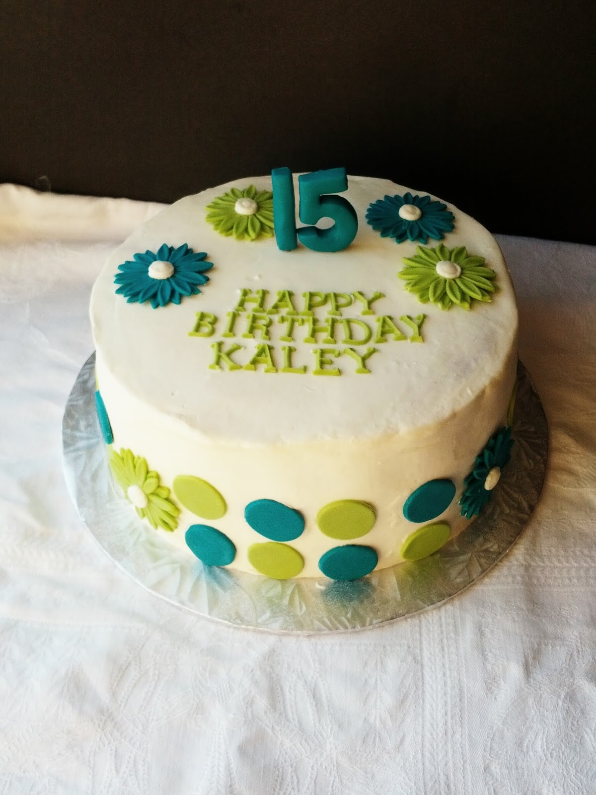Second Generation Cake Design Turquoise and Green 15th Birthday Cake