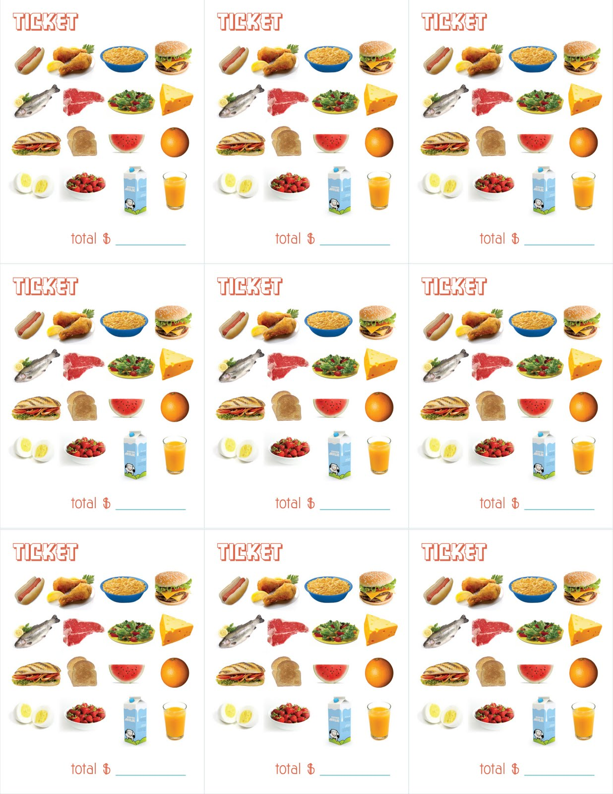 Comprehensive image with printable kids menu