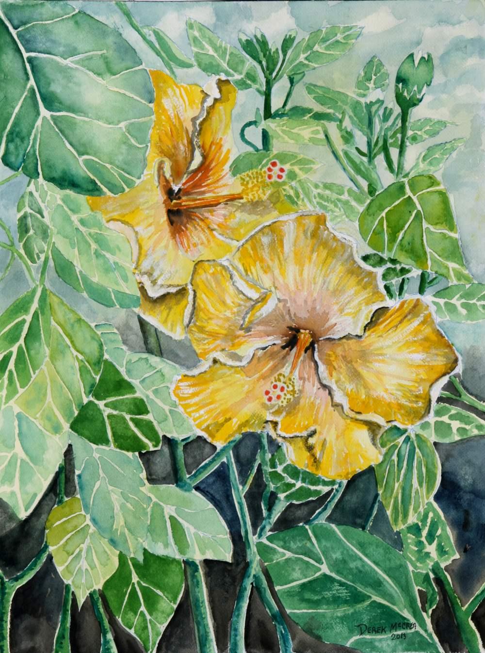Watercolor paintings art by derek mccrea hibiscus flowers painting hibiscus flowers painting izmirmasajfo