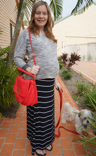 third trimester grey black white stripes maxi skirt bright red bag outfit