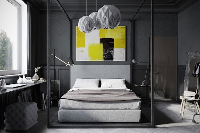 black and white bedroom design and combination of yellow painting