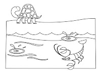 Turtle and shrimp in aquatic animals free coloring book by Robert Aaron Wiley for Microsoft Office Online