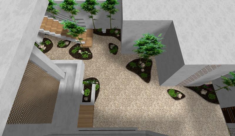 modelo de jardin urbano minimalista zen vista desde arriba