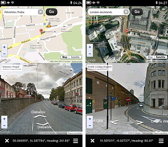 the map and street view can be zoomed inout panned and rotated independently you can switch the map between street and satellite view