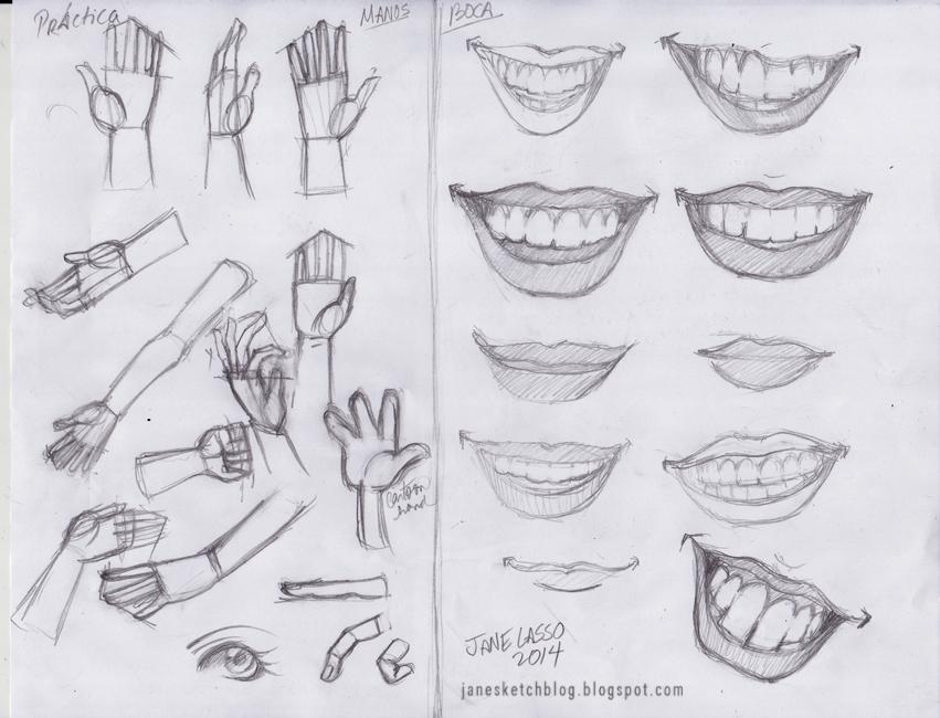 Dibujo de manos y boca
