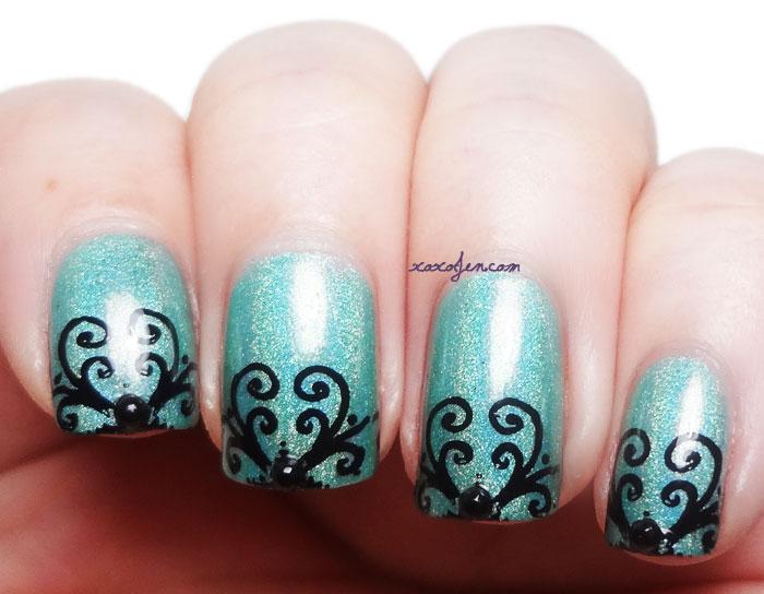 xoxoJen's nail art of Cupcake Polish with QA6 stamping plate