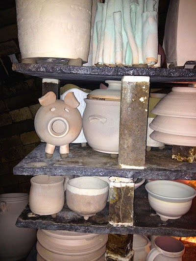 Wood Kiln Loading by Lori Buff Pottery
