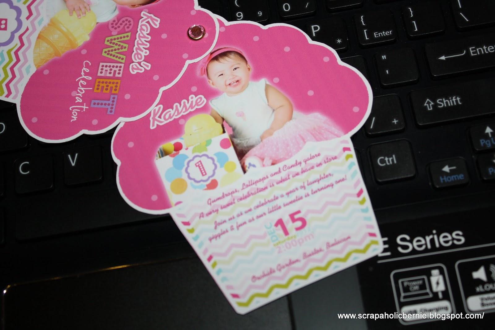 F1 Digital Scrapaholic: Cute Cupcake Birthday Invites