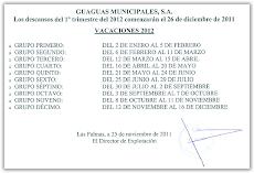 Descansos del 1º trimestre del 2012 comenzarán el 26 de diciembre de 2011.