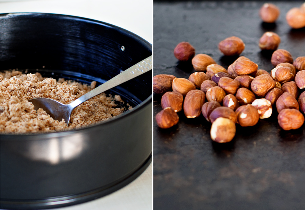 hazelnut crust crumbs in a springform pan and roasted hazelnuts