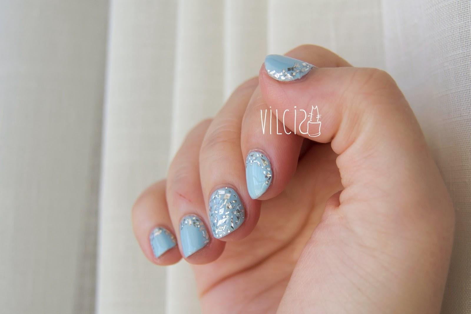 Diseño fácil para uñas cortas con papel de aluminio de cocina vilcis