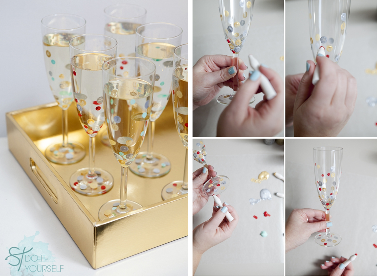 Decoraci n f cil decorando copas y vasos para fin de a o - Como decorar copas de cristal ...