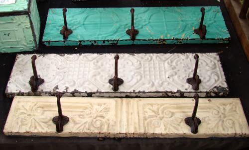 Salvage tin vintage coat rack
