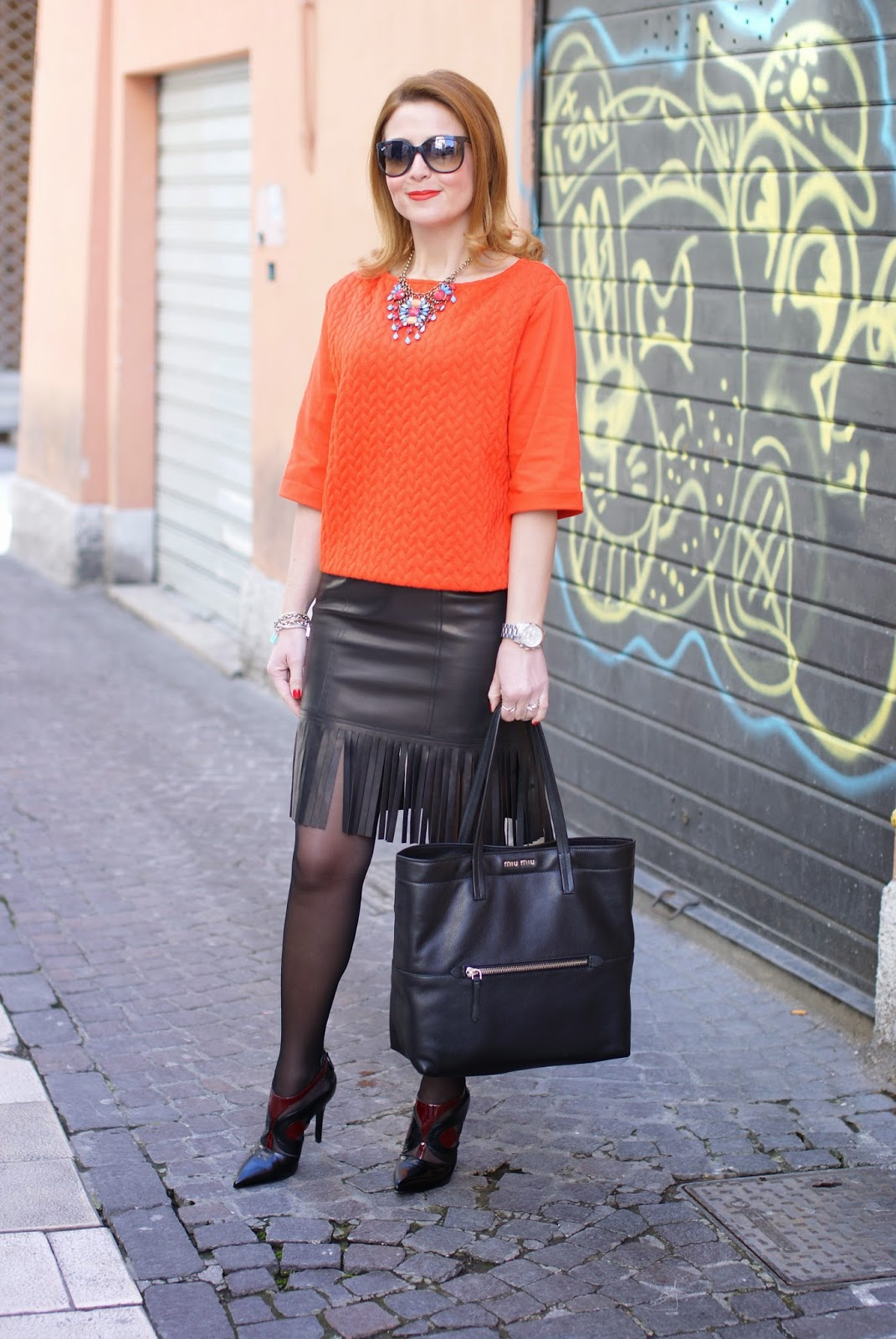 Blumarine leather fringed skirt, fringe hemline skirt, black sheer tights, Miu Miu black tote, bijou brigitte necklace, Fashion and Cookies fashion blog, fashion blogger